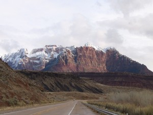 View along highway 9 to Zion