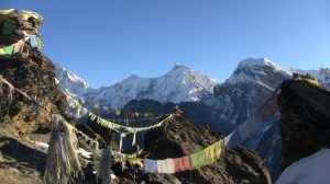 Prayer flags and the beautiful view