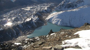 Looking down at the village of Gokyo
