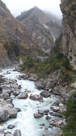 Another crossing of the Dudh Kosi river